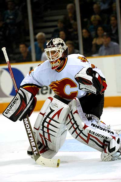 Calgary Flames goaltender Miikka Kiprusoff open stance