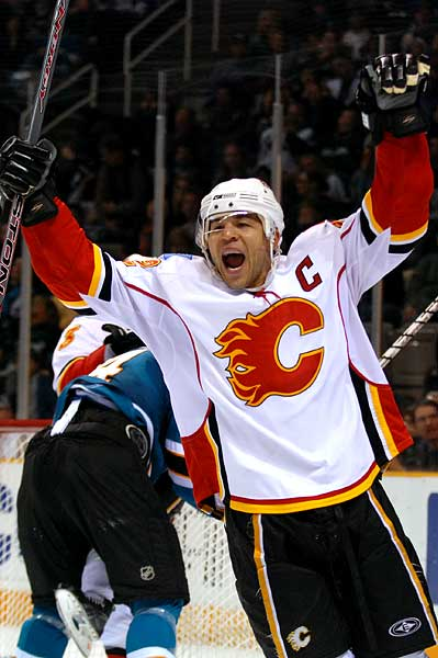 Calgary Flames captain Jarome Iginla celebrates game winning overtime goal in San Jose