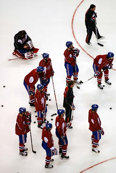 Montreal Canadiens pre-game practice photos