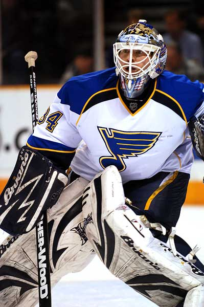 St Louis Blues goaltender Manny Legace