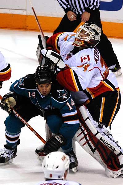 San Jose Sharks Jonathan Cheechoo Calgary Flames Miikka Kiprusoff