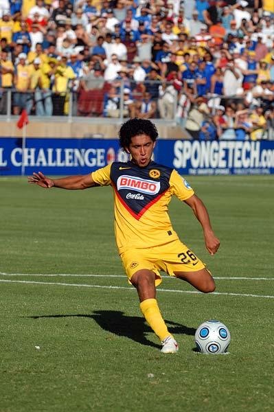 Club America Futbol winger Juan Carlos Silva penaly kick
