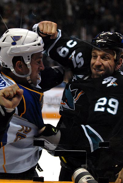 San Jose Sharks St Louis Blues Ryane Clowe BJ Crombeen hockey fight