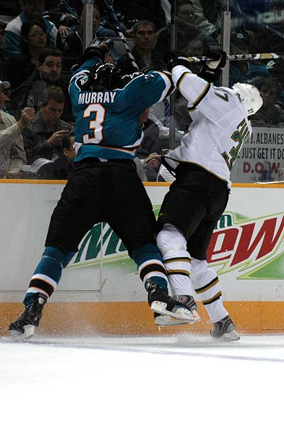 Douglas Murray checks Mark Parrish San Jose Sharks Dallas Stars