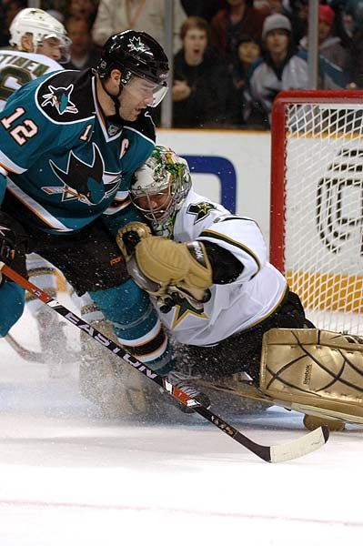 San Jose Sharks Captain Patrick Marleau vs Dallas Stars goaltender Marty Turco
