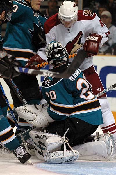 San Jose Sharks goaltender Evgeni Nabokov Phoenix Coyotes right wing Viktor Tikhonov