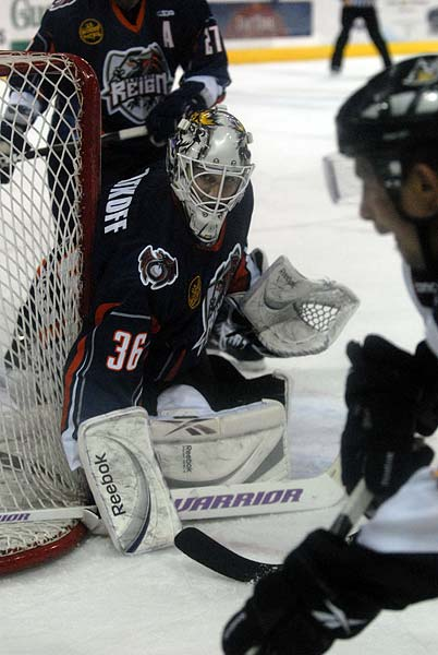 Ontario Reign goaltender Jeff Zatkoff ECHL Kelly Cup Playoffs Stockton Thunder