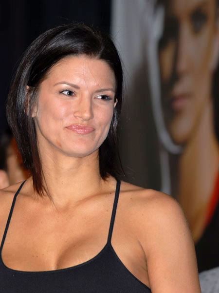 Gina Carano at the Strikeforce MMA weighin for a bout with Cristiane Santos