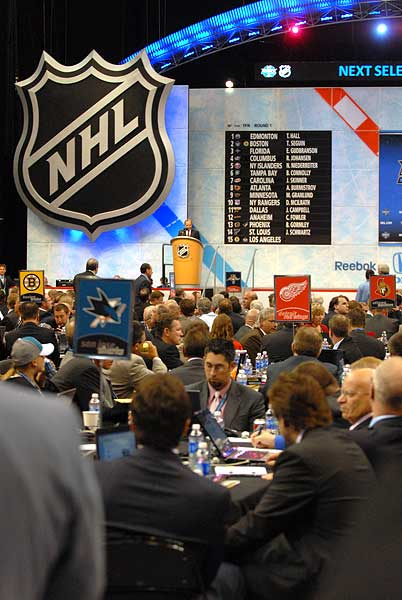 NHL Commissioner Gary Bettman San Jose Sharks draft table NHL Entry Draft Staples Center Los Angeles