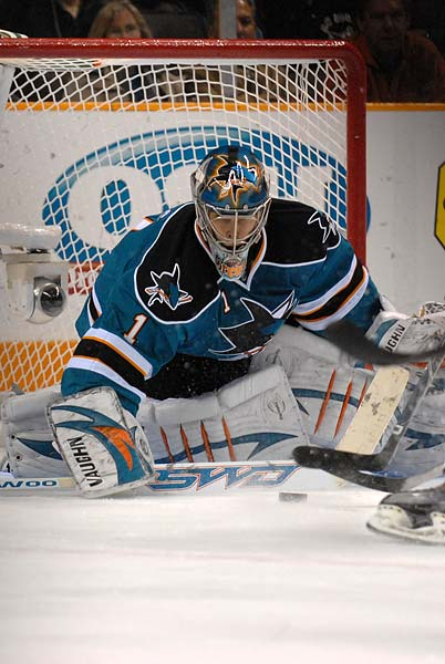 San Jose Sharks goaltender Thomas Greiss stick save