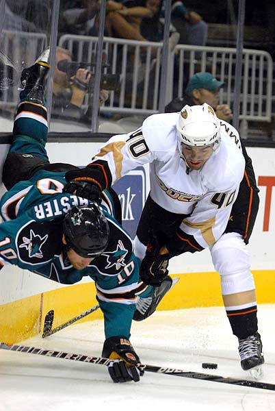 San Jose Sharks Anaheim Ducks preseason Brad Winchester Sean Zimmerman