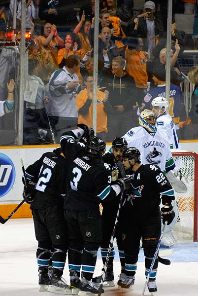 Western Conference Finals Game 3 San Jose Sharks Patrick Marleau scores opening goal on Vancouver in first period