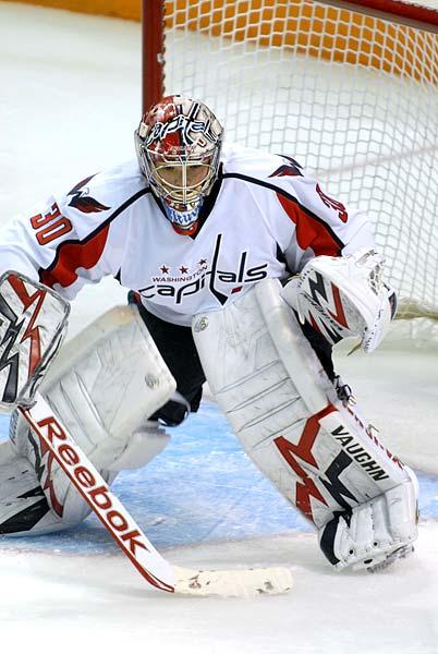 Washington Capitals goaltender Michal Neuvirth prepares for Devin Setoguchi shot San Jose Sharks