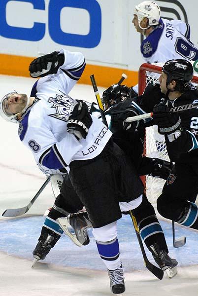 San Jose Sharks Ryan Clowe elbows Los Angeles Kings defenseman Drew Doughty