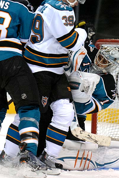 San Jose Sharks 2011-12 Teal and White game Thomas Greiss Logan Couture