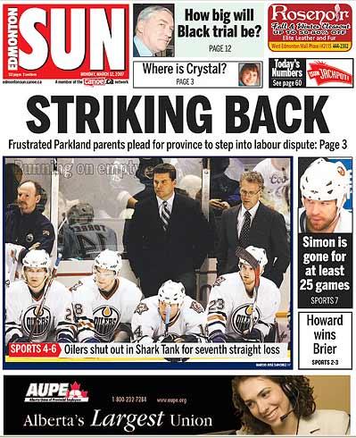 Edmonton Sun Oilers San Jose Sharks