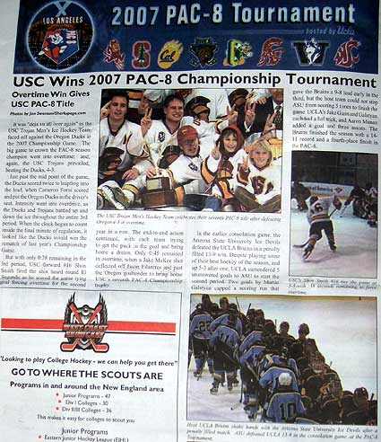 Pac 8 Tournament Hockey and Skating magazine
