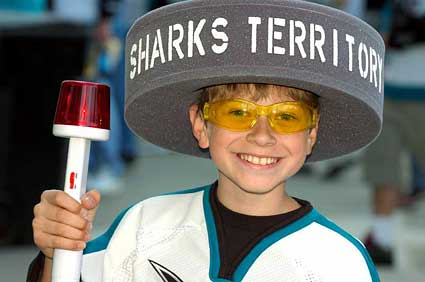 Sharks fan playoff rally