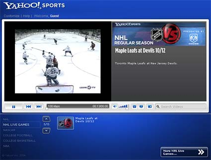 Yahoo Sports NHL hockey video stream online