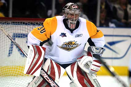 2008 ECHL Allstar Game American Conference goaltender Justin Peters