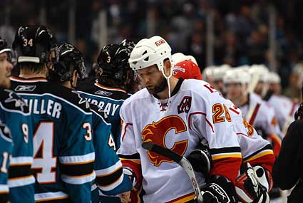 Marc-Edouard Vlasic Robyn Regehr post-game handshake