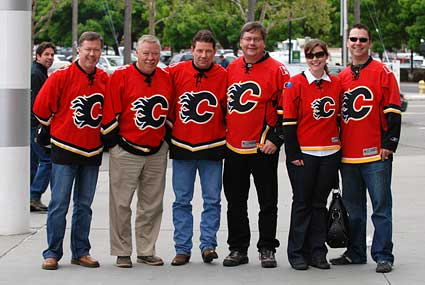 Calgary Flames fans outside HP Pavilion