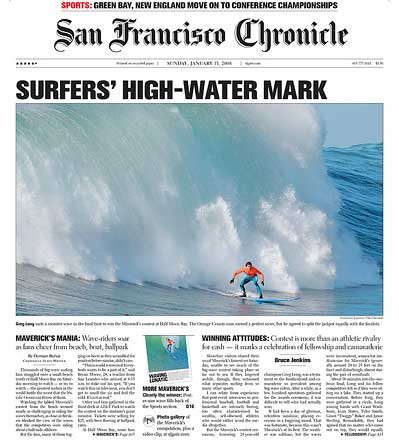 San Francisco Chronicle front page 2008 Mavericks Suring