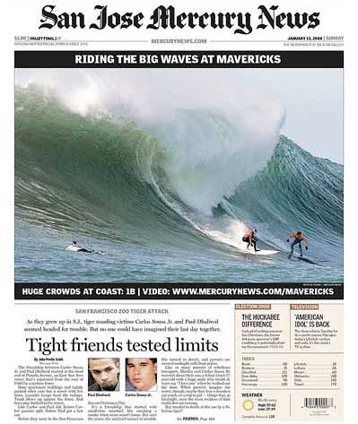 San Jose Mercury News front page 2008 Mavericks Suring