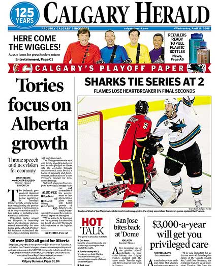 Calgary Herald front page on San Jose Sharks game 4 WCQF win