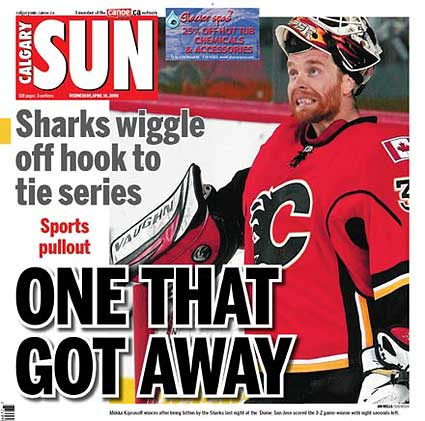 Calgary Sun headline after Flames Game 4 loss