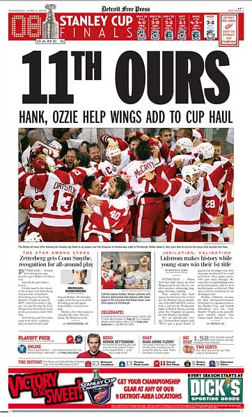 Detroit Free Press Stanley Cup Championship sports front page