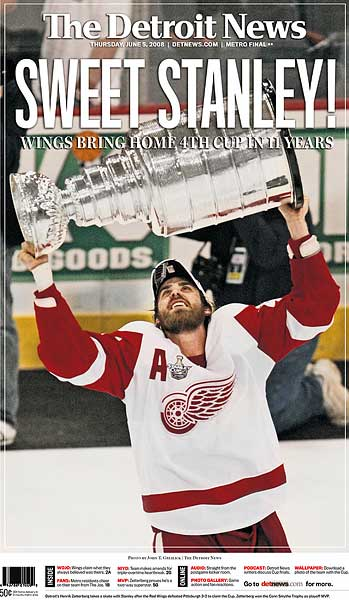Detroit News Stanley Cup Championship newspaper cover
