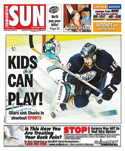Edmonton Sun Edmonton Oilers San Jose Sharks