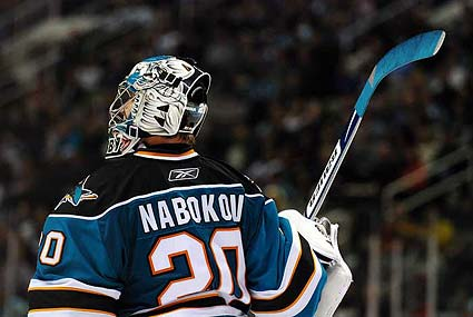 San Jose Sharks goaltender Evgeni Nabokov