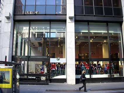 NHL powered by Reebok storefront in New York City