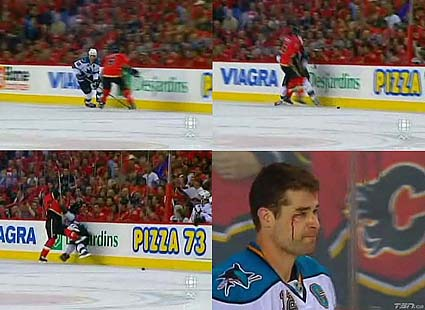 Cory Sarich elbow to the head of Patrick Marleau in game 3