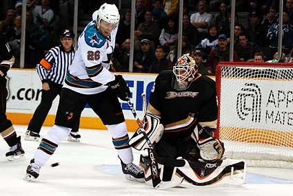 Steve Bernier Jean-Sebastien Giguere San Jose Sharks Anaheim Ducks