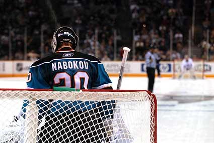 San Jose Sharks Evgeni Nabokov Edmonton Oilers Dwayne Roloson