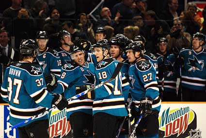 San Jose Sharks Calgary Flames nhl hockey photo