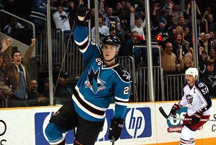 San Jose Sharks Steve Bernier hockey goal