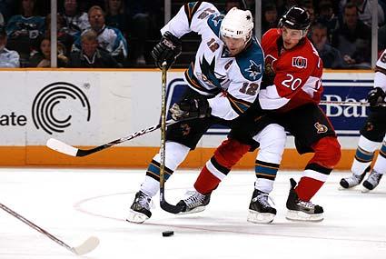 San Jose Sharks captain Patrick Marleau Ottawa Senators Antoine Vermette