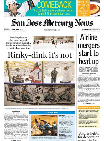 San Jose Mercury News feature on Sharks Ice hockey rink in San Jose