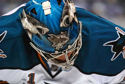 San Jose Sharks goaltender Thomas Greiss Teal and White game