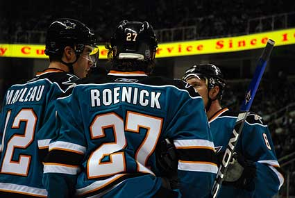 San Jose Sharks Patrick Marleau, Jeremy Roenick, Joe Pavelski