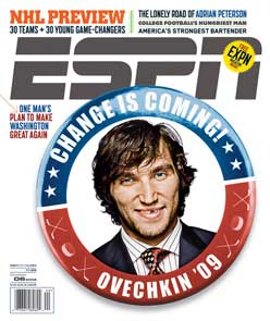 ESPN Magazine Alexander Ovechkin 2008-09 NHL preview