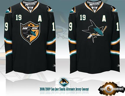 San Jose Sharks new black alternate RBK jersey
