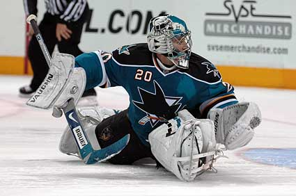 San Jose Sharks goaltender Evgeni Nabokov final shootout save