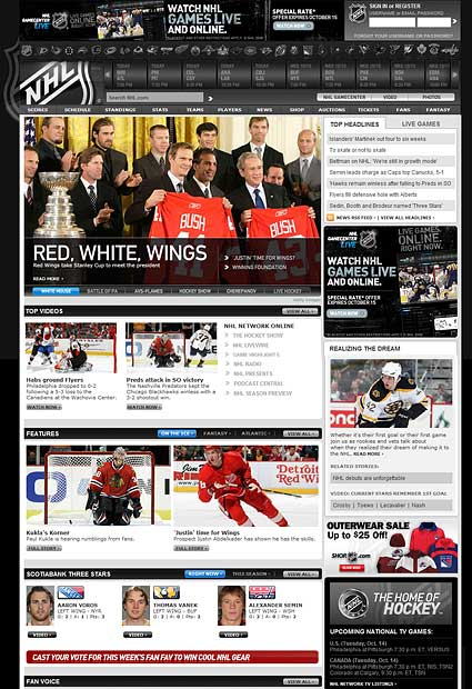 NHL.com redesign website