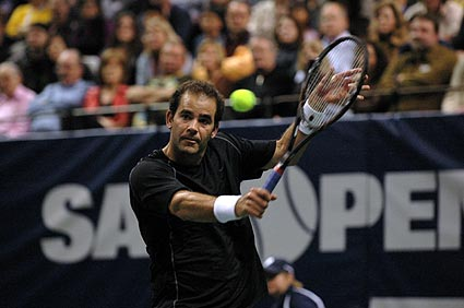 Pete Sampras exhibition tennis backhand photo