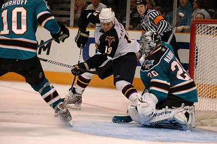 San Jose Sharks goaltender Evgeni Nabokov NHL hockey photo